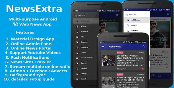 NewsExtra – Multi-purpose Android and Web News App